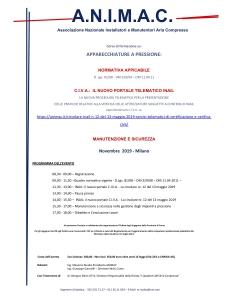 CORSO FORMAZIONE ANIMAC: NORMATIVA - CIVA/INAIL - MANUTENZIONE E SICUREZZA @ Milano